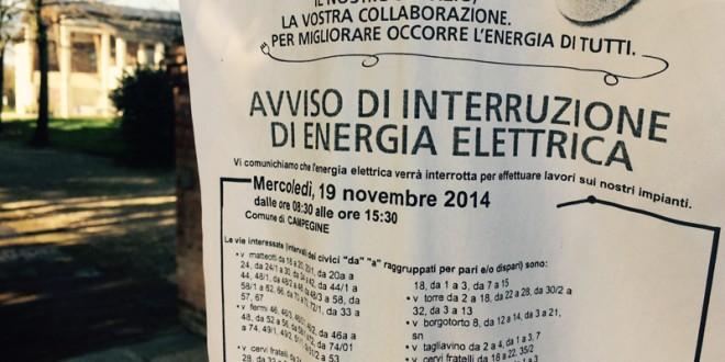 Interruzione Energia Elettrica >19 novembre (8.30-15.30)