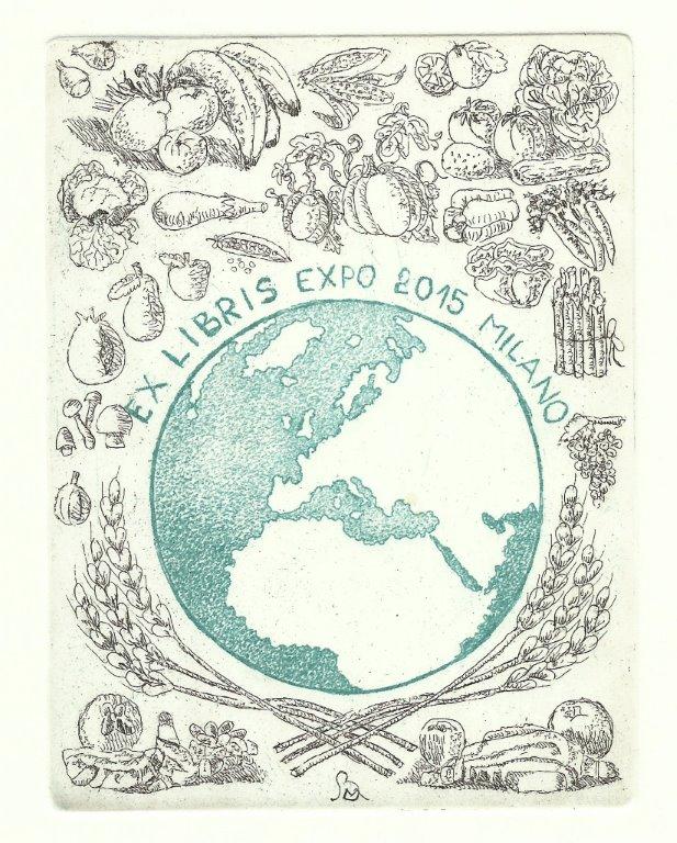 459 - Ex Libris Expo 2015 Milano - Nutrire il pianeta, energia per la vita - 2014 - Acquaforte - 2 matrici - mm 130 x 100