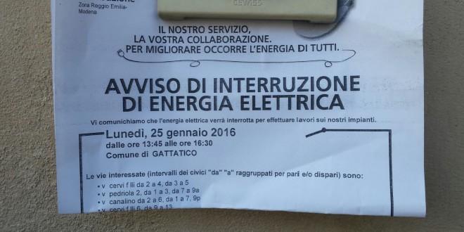 Interruzione Energia Elettrica >25 gennaio 2016 (13,45-16.30)