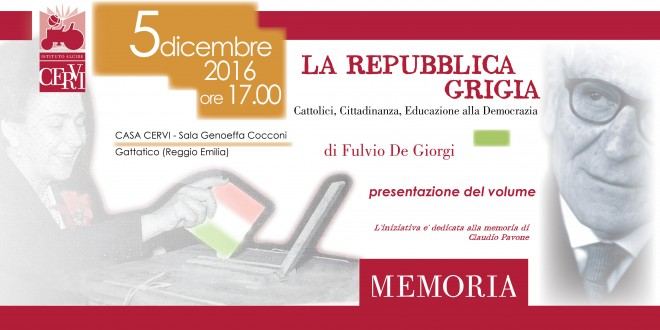 """Presentazione de """"LA REPUBBLICA GRIGIA"""" > 5 dicembre 2016"""